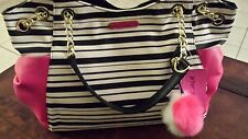 Betsey Johnson Stripe Bow Tote Bag With Pink and White Faux Fur Pom Pom