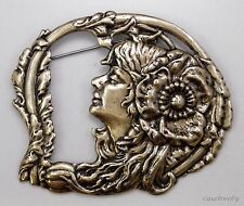 #3353 ANTIQUED GOLD VICTORIAN GIRL/FLORAL BROOCH - 1 Pc Lot