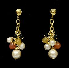 Gold Tone Pearl Cluster Bunch Colourful Bead Dangly Drop Earrings Vintage 1980s