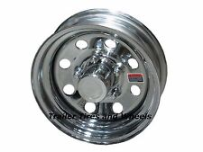 "*2* 12"" 5 Lug HD Chrome Mod Steel Trailer Wheels for 4.80-12 5.30-12 145R12 acc"