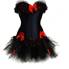 Burlesque Moulin Rouge Tutu Skirt Fancy Dress Costume Black Corset Outfit LBN