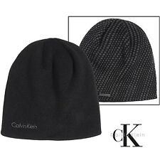 NWT Calvin Klein Diagonal Dash Beanie Reversible Winter Logo Ski Casual Hat