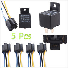 5 Pcs Waterproof 12V 40A Car Offroad SPST Premium Relay & 4-Pin Wired Socket Kit