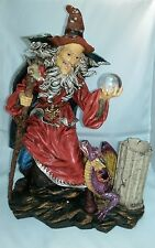 "#130 - WIZARD with CRYSTAL BALL & DRAGON Candle Holder 14.5"" high x 11"" wide"
