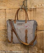 Faded Blue Denim Army Satchel Recycled Canvas Shoulder Bag Leather Vintage