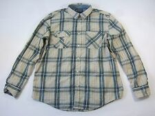 AMERICAN RAG PLAID CHECK BEIGE BLUE XL BUTTON DOWN SHIRT MENS NWT NEW