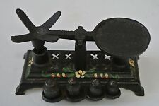 Vintage Miniature Floral Painted Cast Salesman Sample Iron Scale & 4 Weights