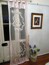 Vintage Pale Pink Curtain 1pce Crushed Velvet & Mesh 85cm/33.5in x 212cm/84in