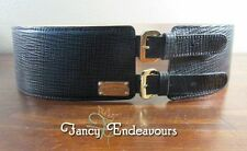 "Escada 3"" Wide Black Crossgrain Leather Buckle Belt........CEM"