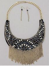 Black And Clear Collar Gold Tone Tassel Bib Necklace Earring Set