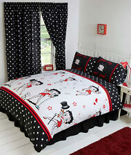 BETTY BOOP BLACK & WHITE SUPERSTARS LIPS HEARTS DOTS DOUBLE BED DUVET COVER SET