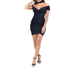 Women Summer Sexy-V Off Shoulder Evening Cocktail Party Club Bodycon Mini Dress