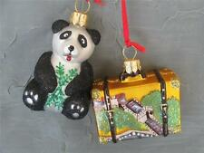 CHINA SUITCASE WITH PANDA BEAR - GLASS CHRISTMAS ORNAMENTS  NORDSTROM NEW POLAND