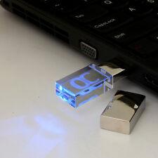 Cristal LED 64 G GO GB CLE USB 2.0 Mémoire Flash Drive Transparent WIN 7/8 PC