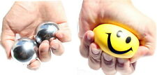 2 Iron ball w Chime +1 Happy Face Squeeze Ball, Hand Finger stress Relief Grip