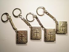 4 Silver Plated Bible Key Chains
