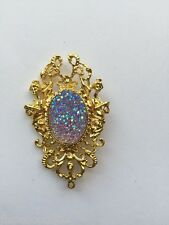 #JRJ5516 gold shiny Rainbow Crystal Rock Necklace Pendant ART druzy Mermaid Sea