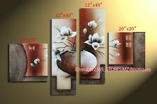 YH367B 4pc Hand painted Oil Canvas Wall Art Home Decor Abstract flowers NO Frame
