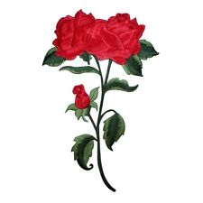 ID 5140 Large Red Rose Flower Plant Embroidered Iron On Applique Patch