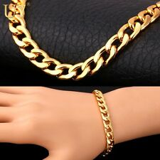 UNISEX STAMPED REAL18K GOLD FILLED MENS/LADIES LINK CHAIN BRACELET  8MM