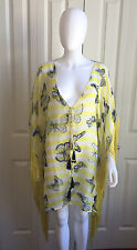 KAREENA'S YELLOW BLUE BUTTERFLY PRINT POLYESTER FRINGE PONCHO COVERUP TOP OS