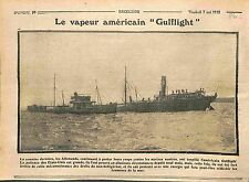 Torpedo Steamboat Transport Steamer Gulflight USA WWI 1915