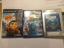 3 PLAYSTATION 2 PS2 KID's GAMES BEE MOVIE GAME MONSTER'S Vs ALIENS FINDING NEMO