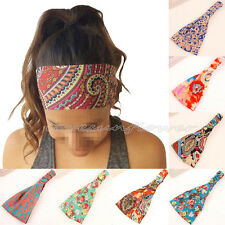 5pcs Women Yoga Sports Floral Boho Headband Elastic Hair Band Head Wrap Turban