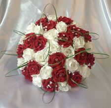 WEDDING FLOWERS ARTIFICIAL WHITE/RUBY RED FOAM ROSE BRIDE WEDDING BOUQUET *NEW