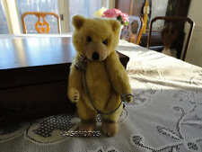 Antique 1930s TEDDY BABY Yellow Mohair Jointed Bear w. CHAIN Closed Mouth JAPAN