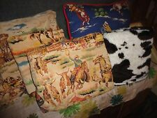 RTR COWBOYS RODEO BOOTS BROWN RED BLUE COWBOY (5PC) THROW SHEET SET PILLOW