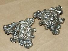 2 VTG Antique Silver Plate Floral Scrolled Puffy Triangular Pin Brooch Set 2""