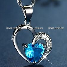 SALE XMAS GIFTS FOR HER Blue Crystal Heart Necklace Women Girlfriend Wife Mum K3