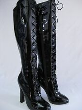 Agent Provocateur Black Patent Leather Stephanie Lace Knee High Boots 37 NIB zs