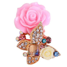 5x Gold Plated Colorful Rhinestone Resin Flower Alloy Butterfly Embellishments D