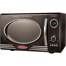 Black Compact Retro Microwave, Small Apartment, Office College Dorm Vintage Oven