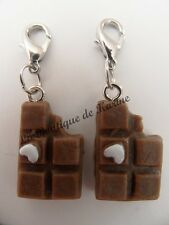 2 CHARMS FIMO BRELOQUE A FERMOIR METAL ARGENTE TABLETTE CHOCOLAT MARRON - BIJOUX
