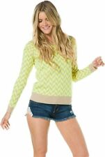 NWT Lucca Neon Chevron Sweater neon yellow and neutral color retails 100.00