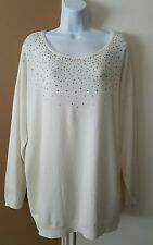 CALVIN KLEIN EMBELLISHED BEADS STUDDED IVORY PULLOVER SWEATER SZ XL EUC