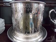 Elkington & Co Silverplate Fancy Round Etched Ice bucket Box Canister
