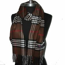 "New Fashion 100% Cashmere Scarf Brown Check Plaid Scotland Wool Wrap ""Am09"""