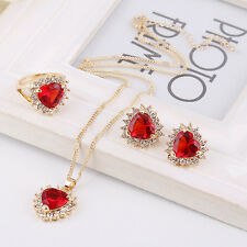 3 Color Fashion Zircon Pendant Necklace Earring Set Crystal Jewelry Sets