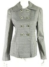 GIORGIO ARMANI Gray Striped Linen Blend Double-Breasted Jacket 42