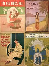Lot of 4 Antique Piano Vocal Sheet Music 1912-1916
