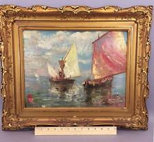 Antique Authentic Norval H Busey Impressionist Sailboat Oil Painting Gilt Frame