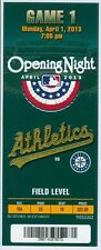 2013 Opening Day Oakland A's vs Mariners Ticket: Felix Hernandez struck out 8