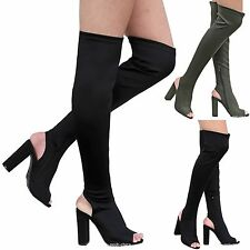 New Women FJn6 Black Stretchy Over the Knee Thigh High Chunky Heel Boot 6-10