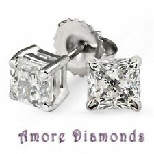 13.8 ct GIA H SI1 natural princess cut diamond stud earrings platinum push backs