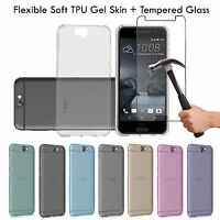 Soft Ultra Thin Clear TPU Gel Skin Case Cover & Tempered glass For HTC Phones