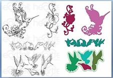 Heartfelt Creations Stamp & Die Combo REGAL HUMMINGBIRD Botanic Orchid-3742,7102